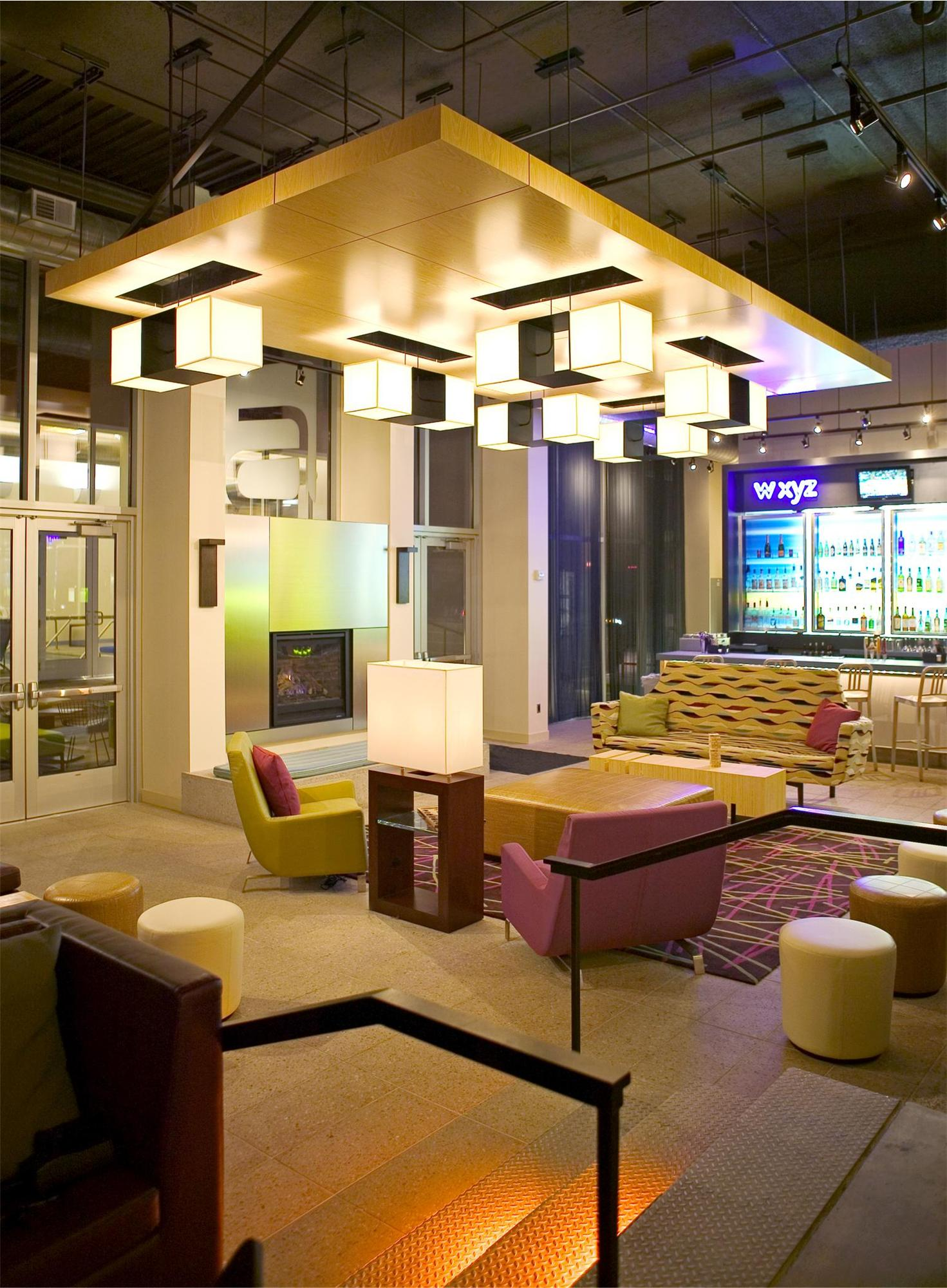 Seating area in the Aloft Hotel in Minneapolis, MN