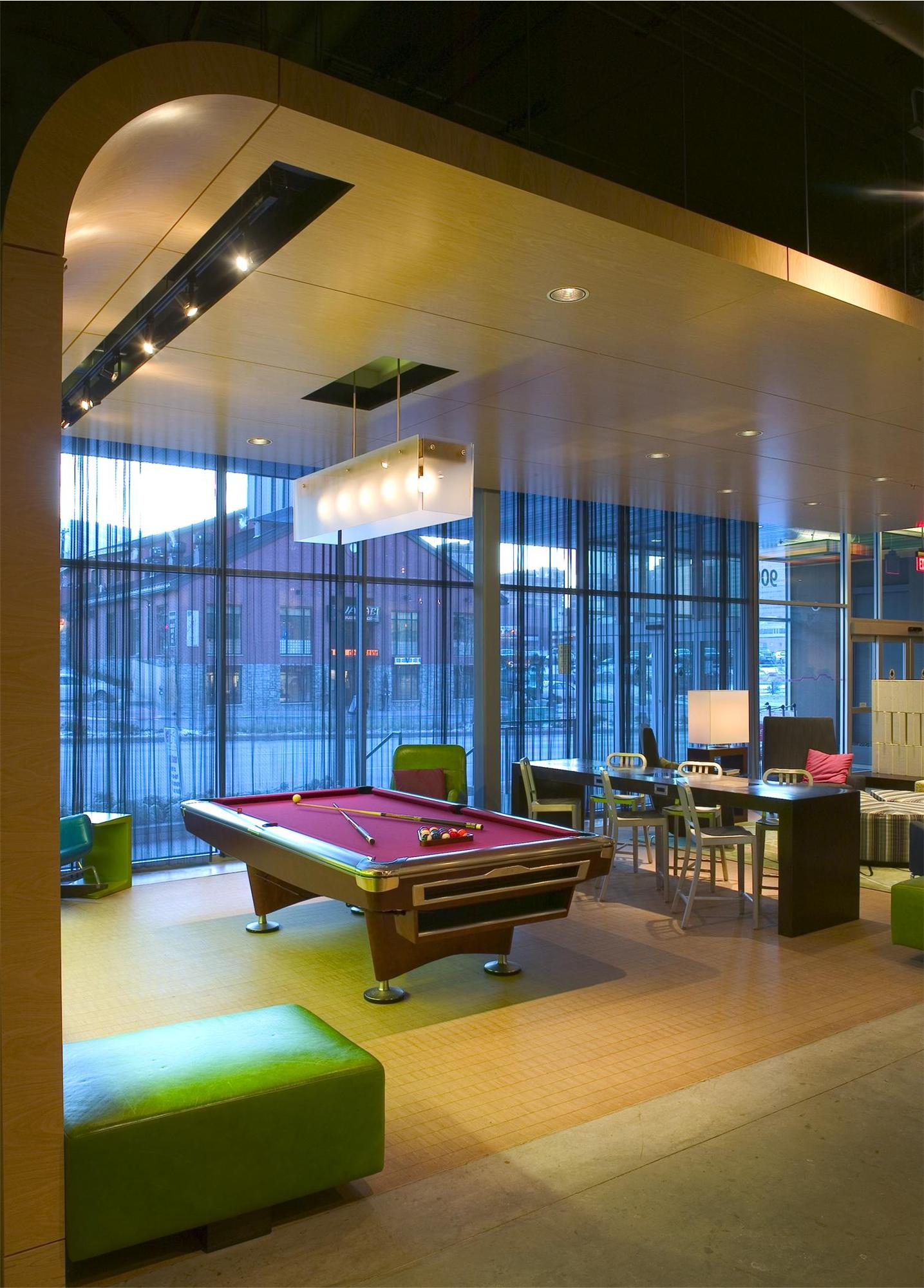 Seating area with a billiards table in the Aloft Hotel in Minneapolis, MN