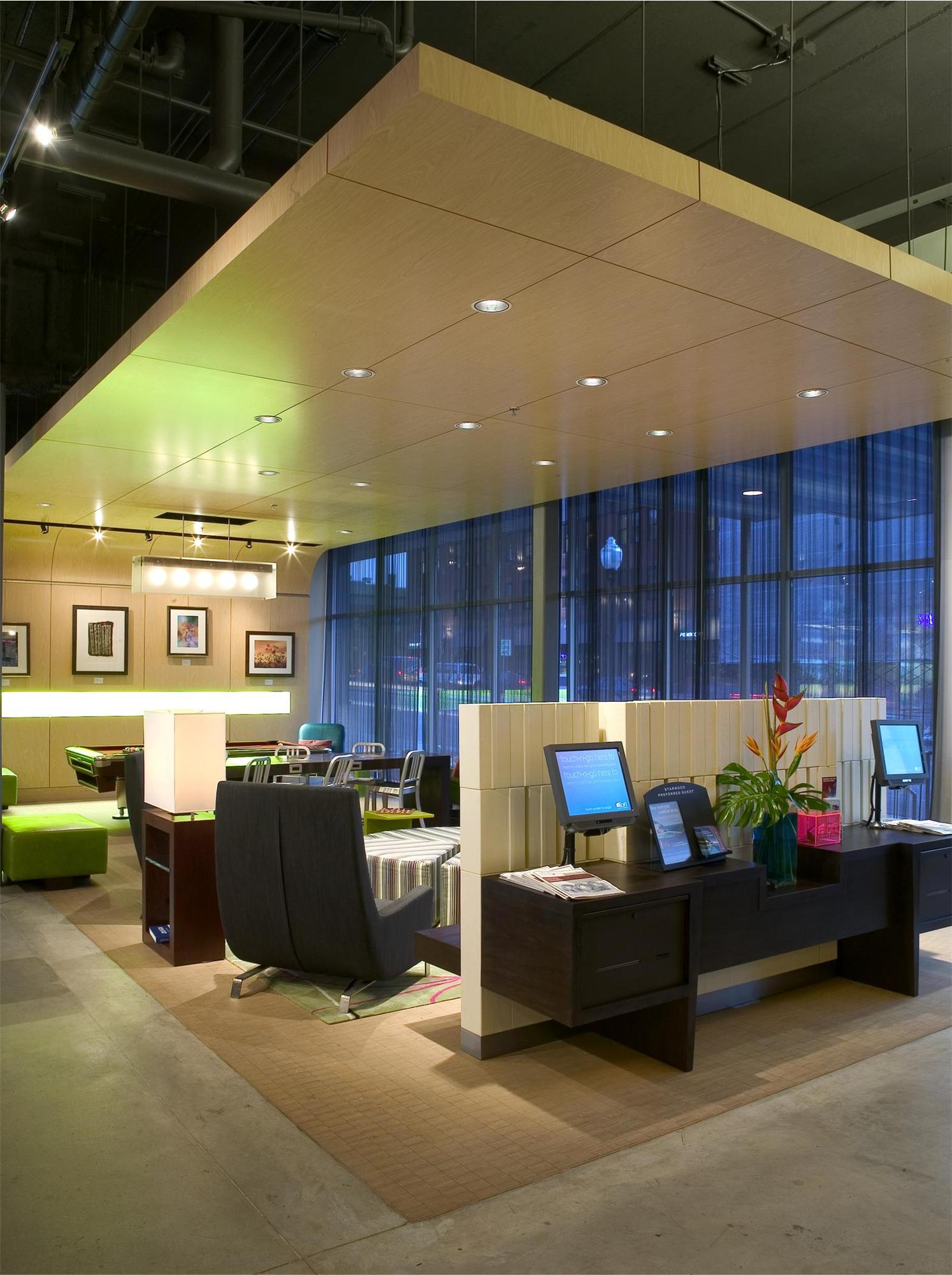 Seating area and a guest computer area in the Aloft Hotel in Minneapolis, MN