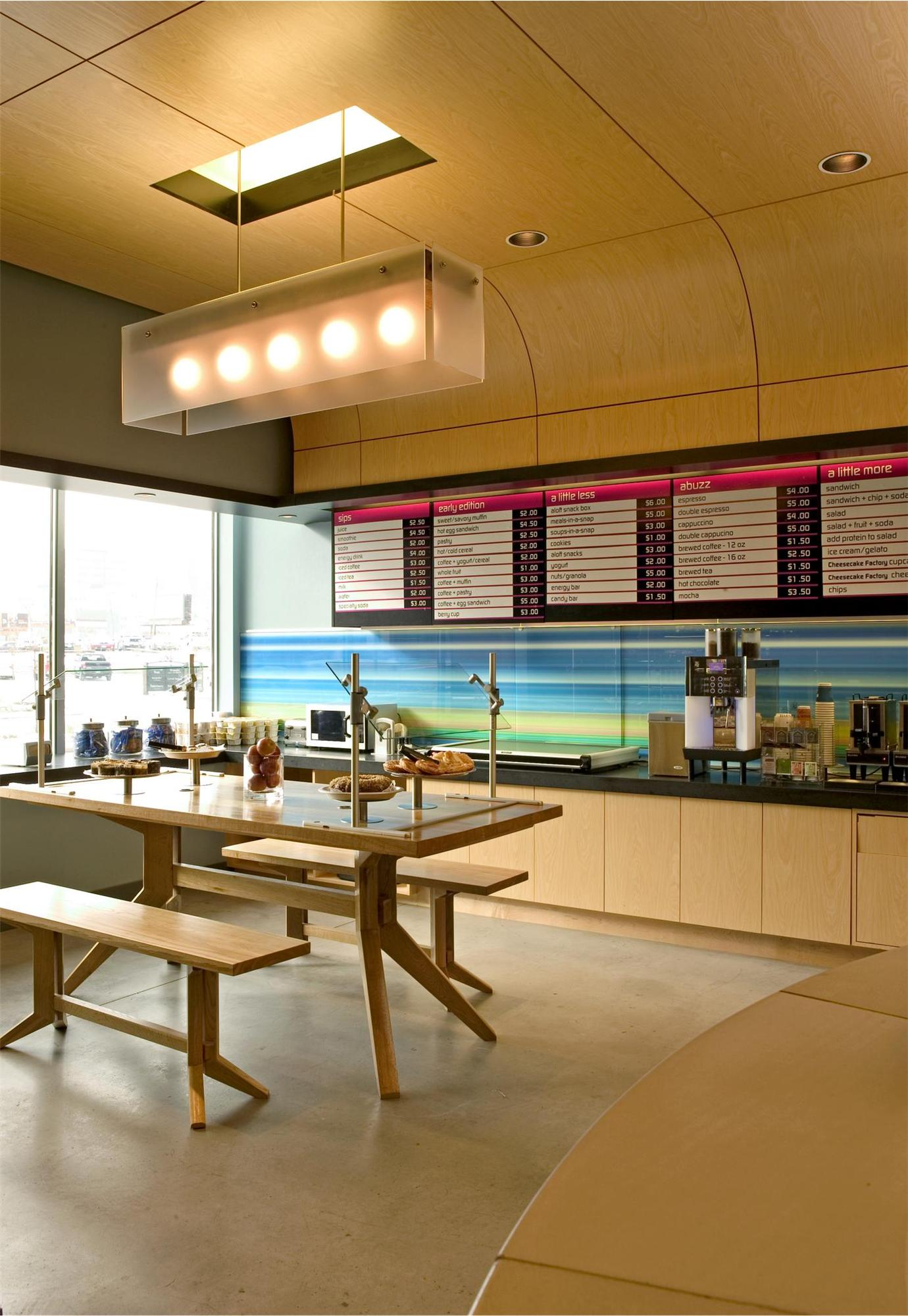 Breakfast area in the Aloft Hotel in Minneapolis, MN