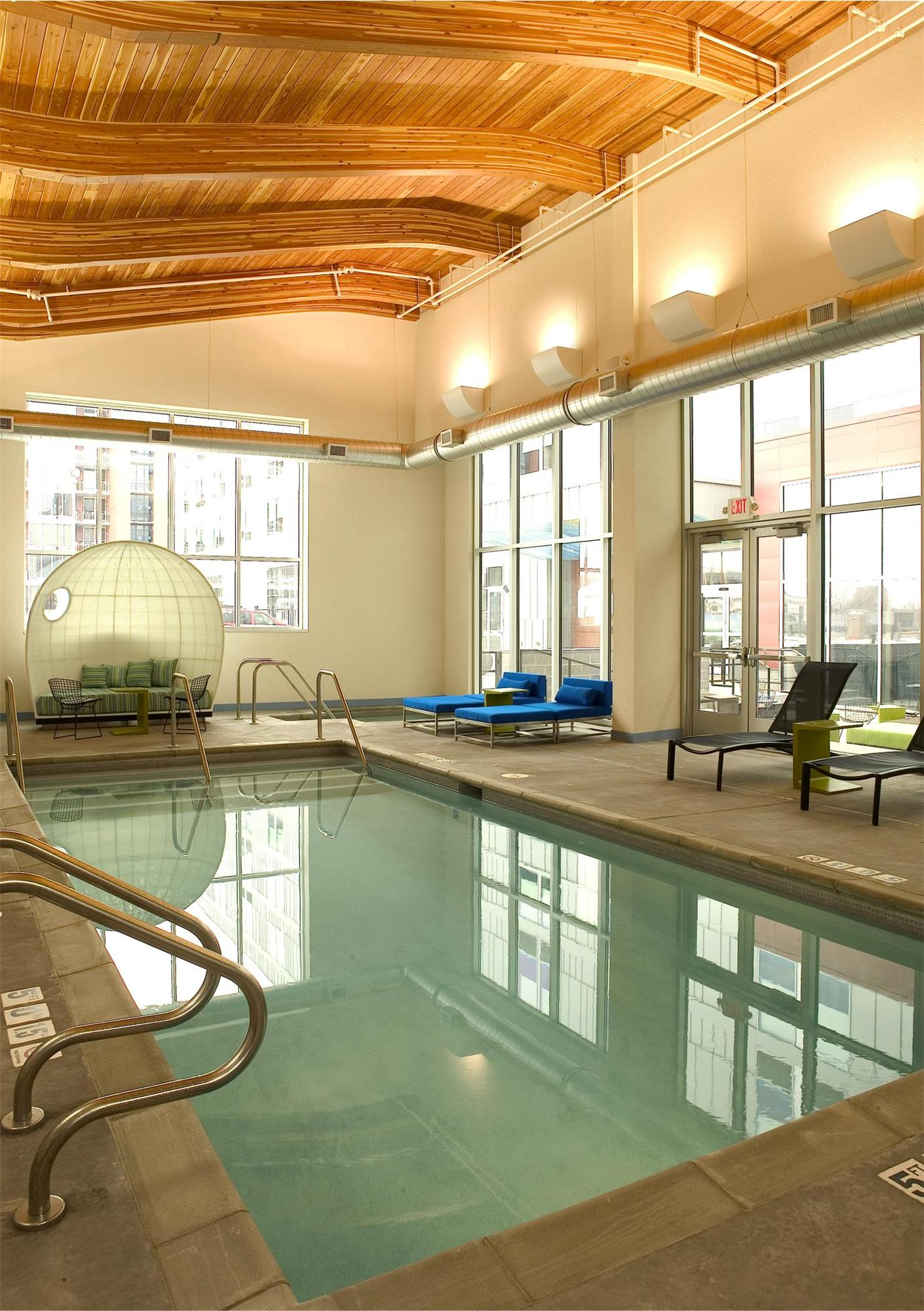Pool area in the Aloft Hotel in Minneapolis, MN