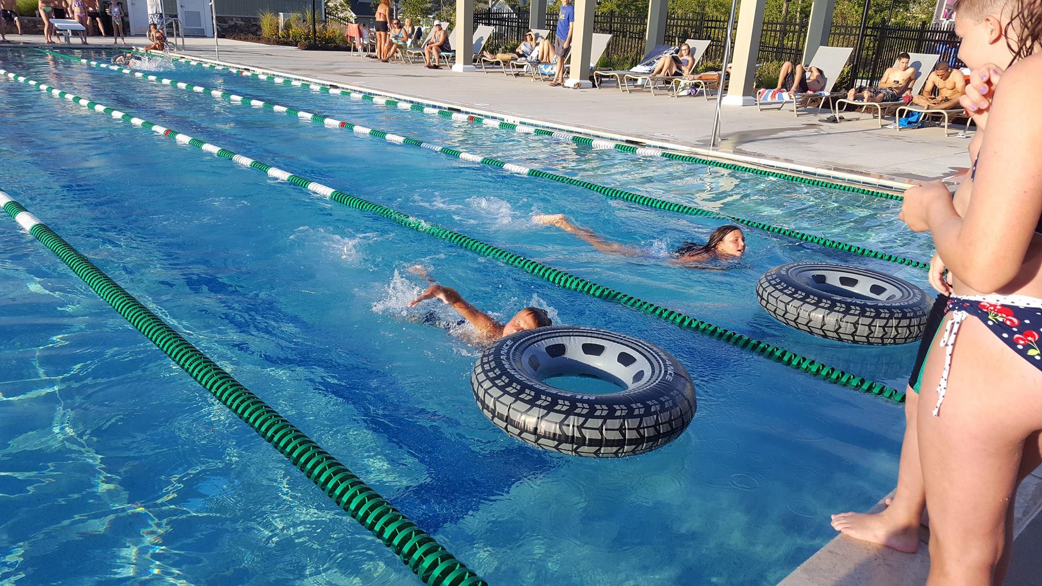 Kids swimming in the lap pool the Magnolia Green Aquatic Center in Moseley, VA
