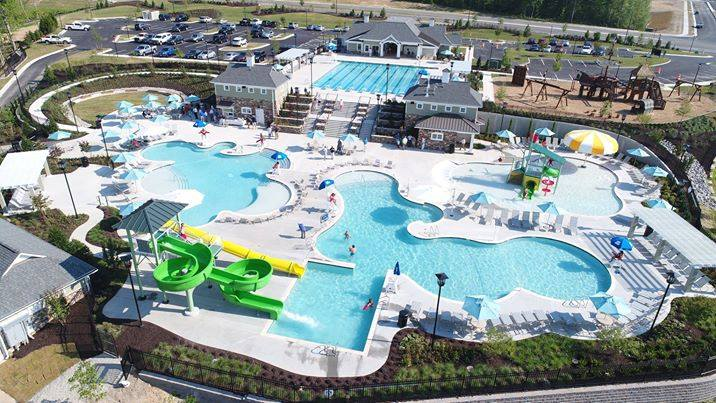 Aerial view  of the whole park at the Magnolia Green Aquatic Center in Moseley, VA