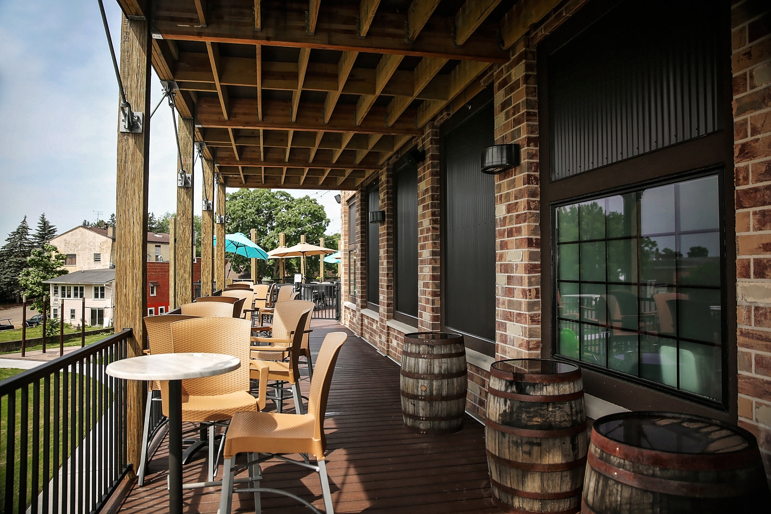 Outside balcony seating area at Vintage Brewery Bar & Restaurant