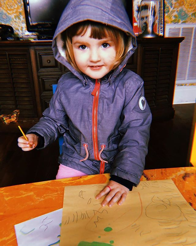 That feeling when you spontaneously learn to write the first letter of your name and you aren't even 3. (She's the brains of this operation.)