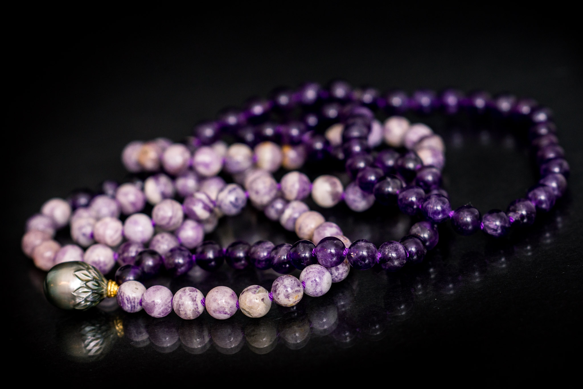 Carved Tahitian Pearl Necklace on Amethyst and Lipidolite — Nancy Yuan  Jewelry