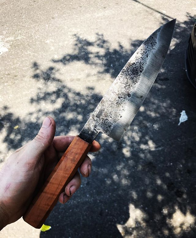 New knife 52100 with madrone handle and leather sheath.