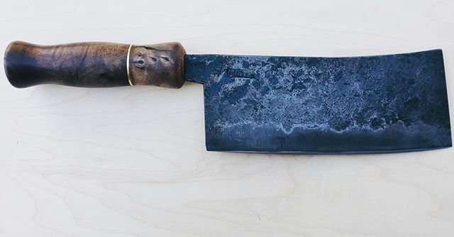 I made an experimental cleaver for a friend. It has a turned walnut handle in the style of older cleavers that you see from the 19th c.