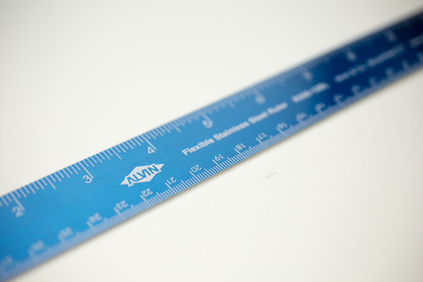 "Alvin® 12"" Flexible Stainless Steel Ruler Blue Item No. R590-12BL"