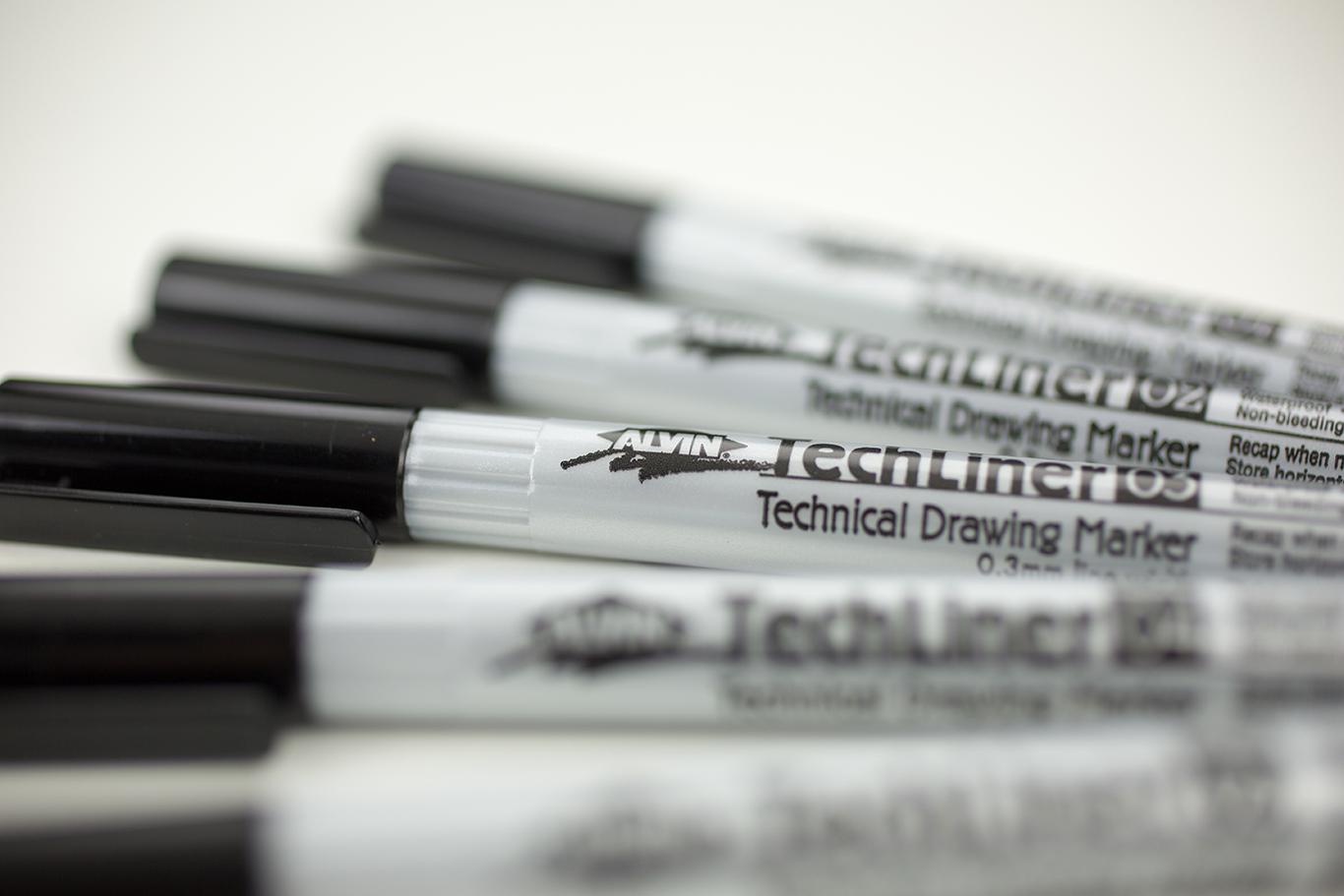 Alvin® TechLiner Technical Drawing Marker 5-Piece Set Item No. TLP5