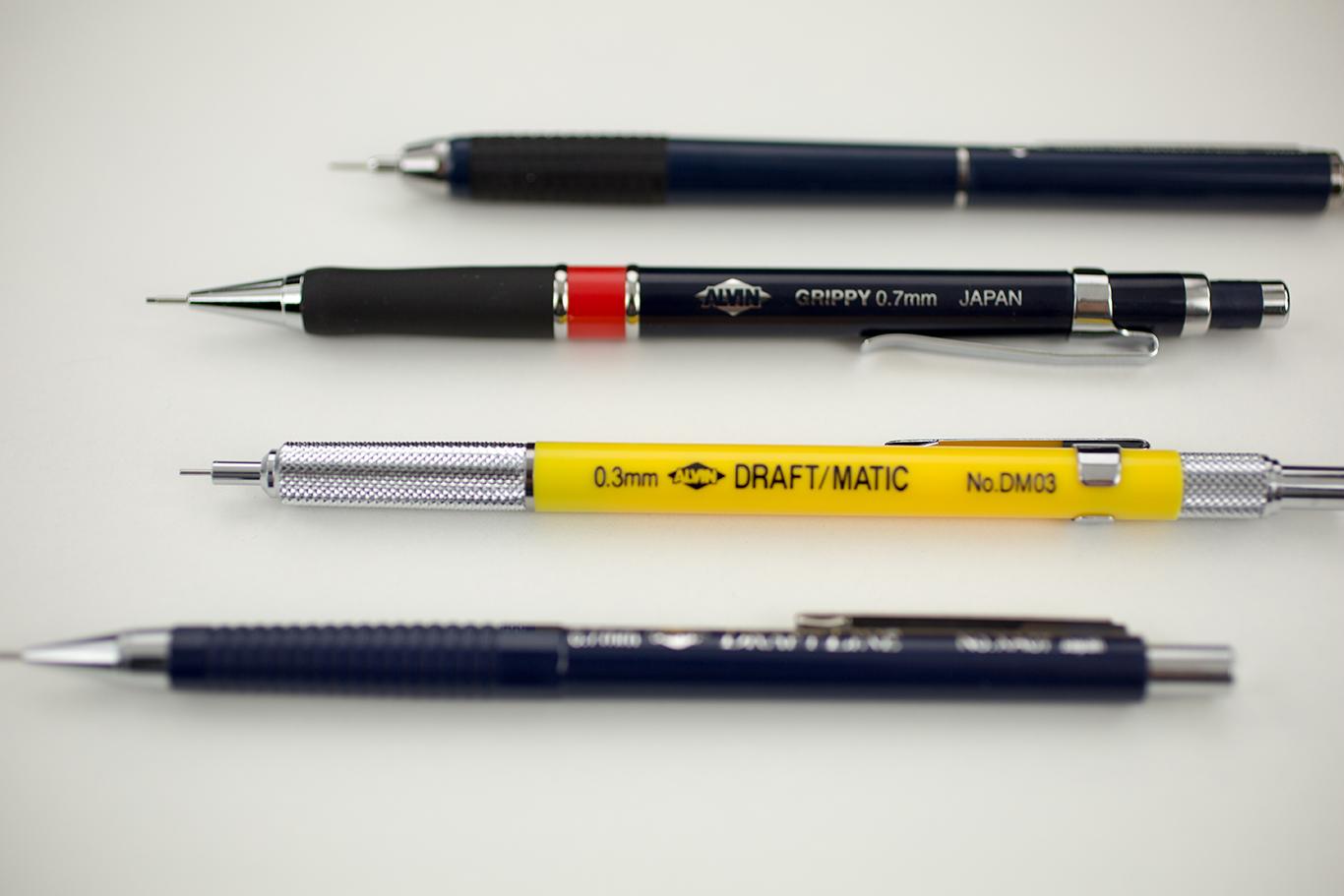 Alvin® Mechancial Pencils: Draf-Tec Retrac Item No. DR05, Grippy .7mm Item No. AGR7, Draft-Matic .3mm Item No. DM03, & Draft-Line Item No. XA05