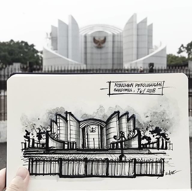 #Repost from @kezia_age . Mari Boeng Reboet Kembali...✊✊✊ Sketchwalking on a really nice drawing book from: @gambart_official  Selamat Hari Pancasila Netijen! #telat . . . #alvindrafting #draftingtools #drafting #draft #draw #drawing #drawingtools #architect #architecture #architecturestudent #architecturedrawing #architecturedesign #architecturesketch #render #rendering #architecturerendering #sketch #sketching #sketchingtools #sketchbook #art #artist #architectural #architectsofinstagram #design #designer #architecturestudent