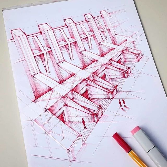 #Repost from @mxrxvs . I was very much in architecture sketching mood the past days! Started with some random perspective lines on the paper and ended up with a great great wall. . . . #alvindrafting #draftingtools #drafting #draft #draw #drawing #drawingtools #architect #architecture #architecturestudent #architecturedrawing #architecturedesign #architecturesketch #render #rendering #architecturerendering #sketch #sketching #sketchingtools #sketchbook #art #artist #architectural #architectsofinstagram #design #designer #architecturestudent