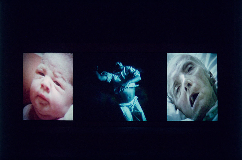 Bill Viola,   Nantes Triptych,  1992. Three-channel colour video triptych, free text 3.2 x 2.3m, 3.2 x 4m, 3.2 x 2.3m, duration 00:29:46. Courtesy Bill Viola Studio.