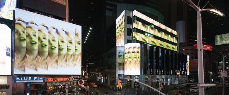 "Petra Cortright's ""  Pink_Para_1stchoice  ,"" 2013, was filmed in Times Square as part of the Midnight Moments artist show. Credit Times Square Arts"