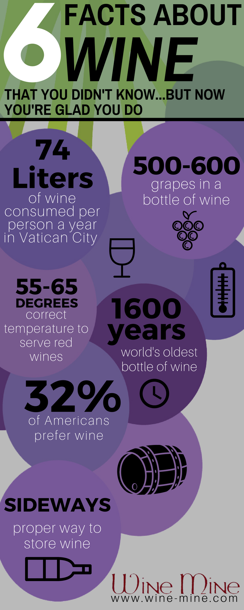 Sources:    http://mentalfloss.com/article/72406/savor-these-24-facts-about-wine      http://interestingthings.info/food-and-beverages/10-interesting-facts-wine-know.html      https://www.forbes.com/sites/kellyphillipserb/2017/05/25/15-fun-facts-about-wine-tax-on-national-wine-day/#685a25085114      http://www.vinesofmendoza.com/blog/2009/june/17/fun-wine-facts-for-wine-wednesday!/
