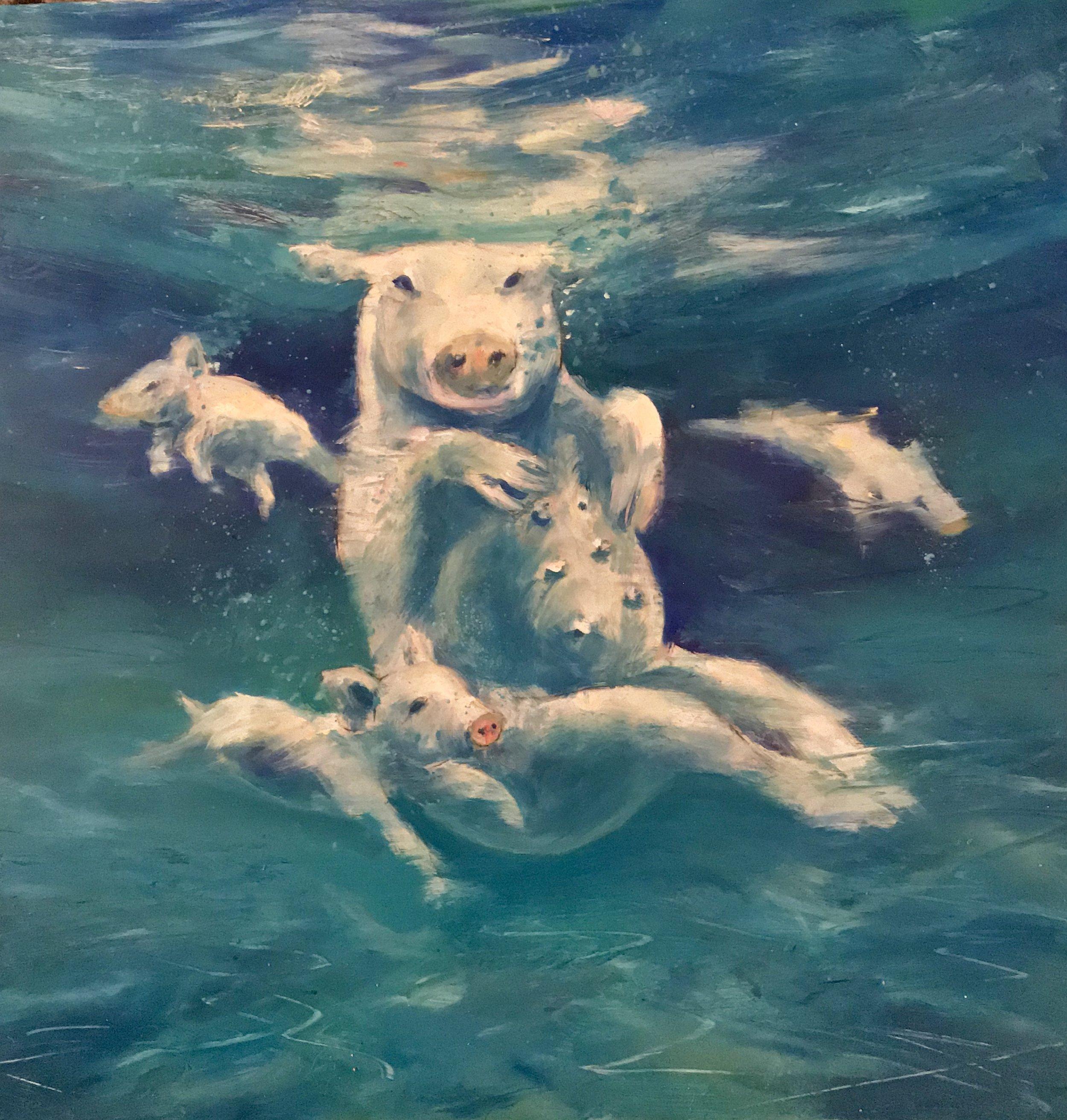"""Saltwater Swines"" Oil on Aluminum (12x12"") 2018"