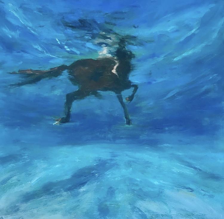 """Underwater Salvation""  Oil on Aluminum (12x12"") 2018"