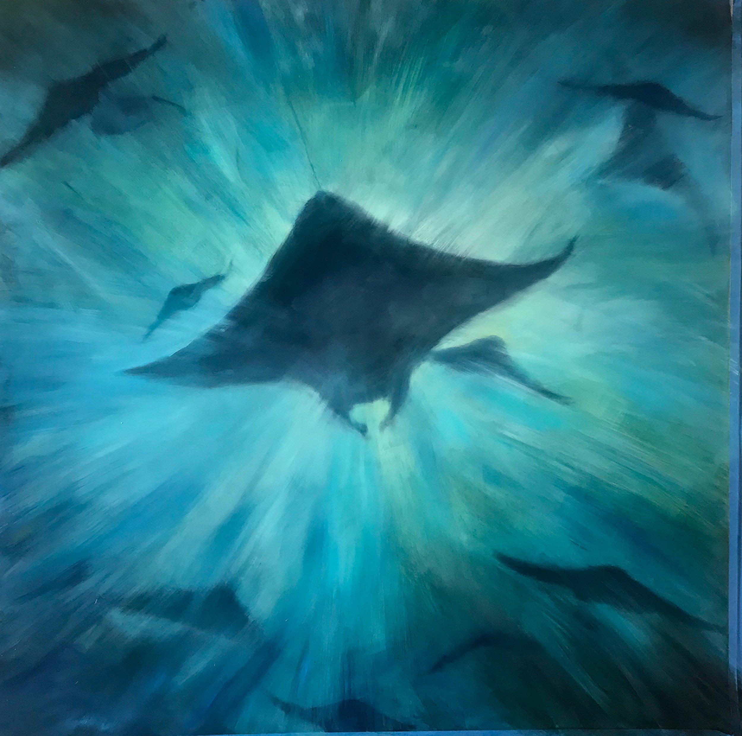 """Scattered Rays""  Oil on Aluminum (36 x 36"")"