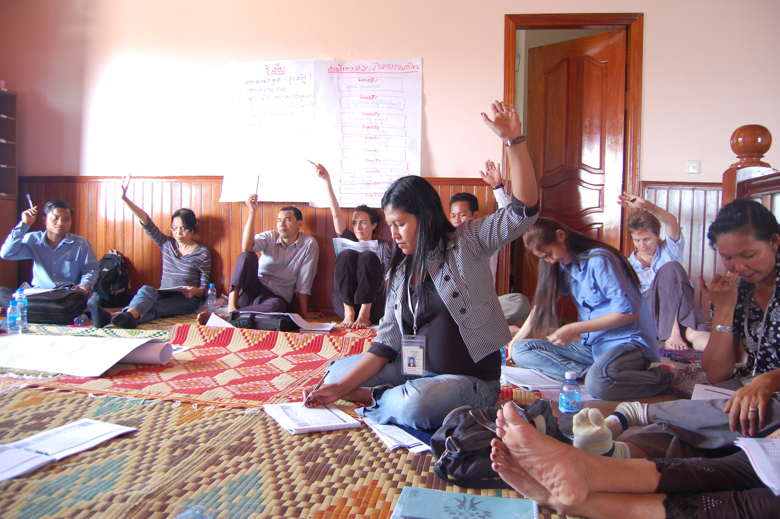 One of Chab Dai's Charter members conducts their initial self assessment as an organization
