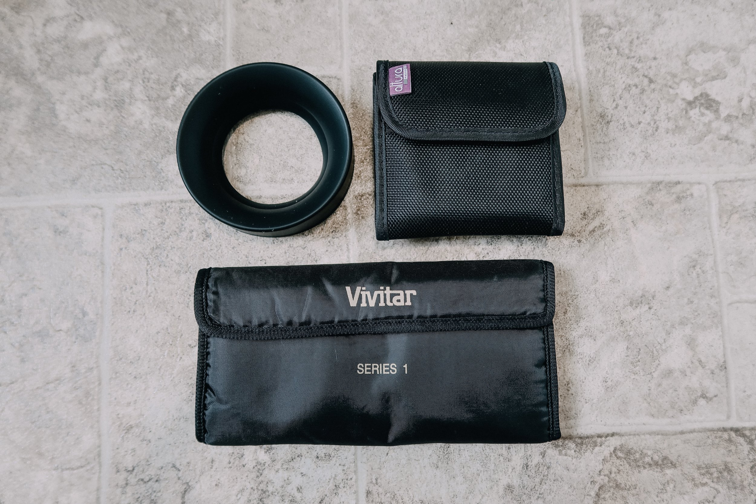 Altura ND Filter set, Vivitar Filter set, collapsable rubber lens hood