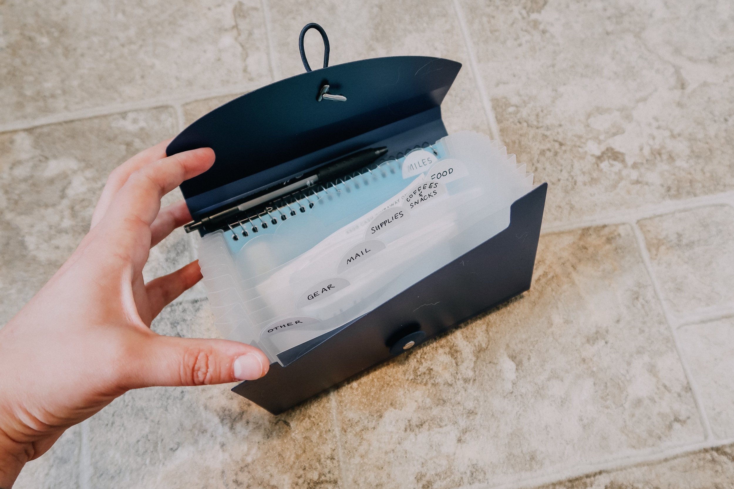 Accordion file organizer for receipts and documents needed for taxes