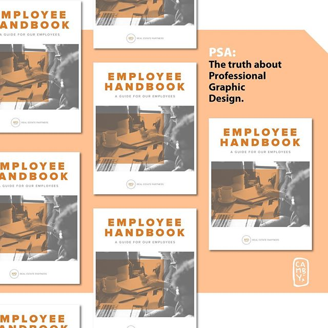 A lot of professional graphic design is about making everyday items look appealing... (it's not all panther heads and lightning bolts, despite what this feed shows). It's about taking pride in solving real-life problems for real people.  Can we foster sense of company pride in the employee that picks up this handbook?  Frankly, it would have been cheaper for an intern or staff member to make that in Word, but thoughtful design provides value.  And feeling valued is in short supply out there.  Give the value you want 😬. Happy Friday, Everyone.  #graphicdesigners #value