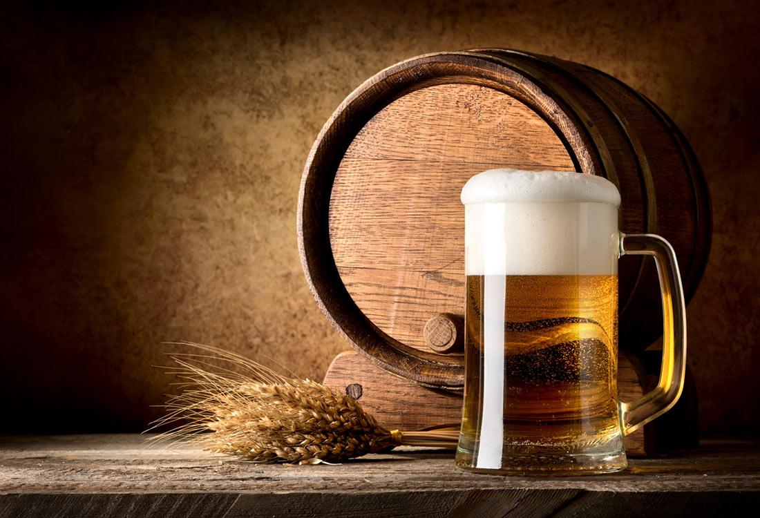 Clean beer with barrel