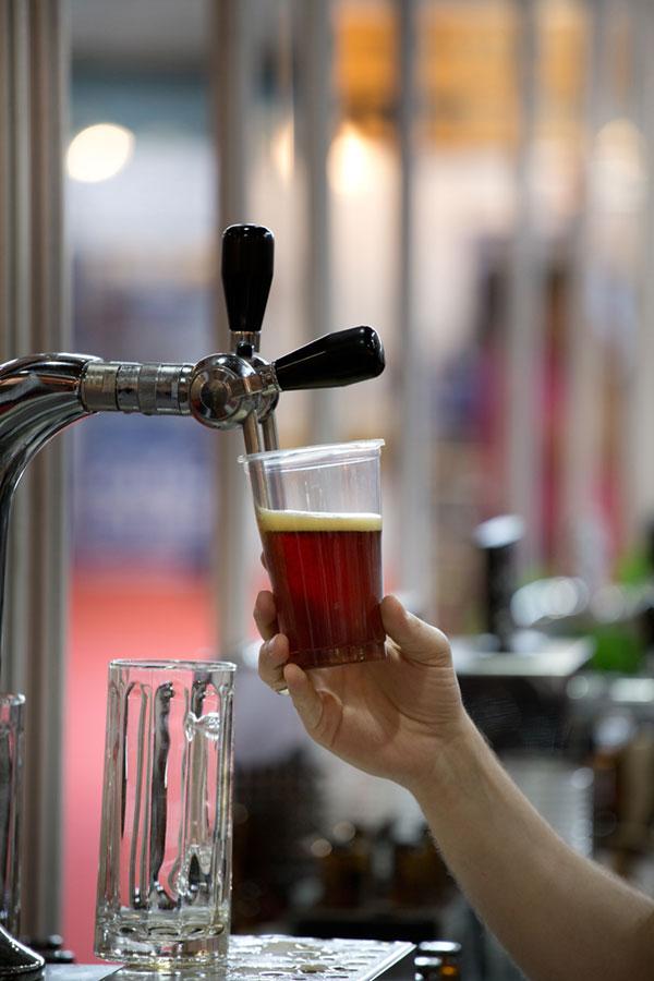 Draft beer being pulled