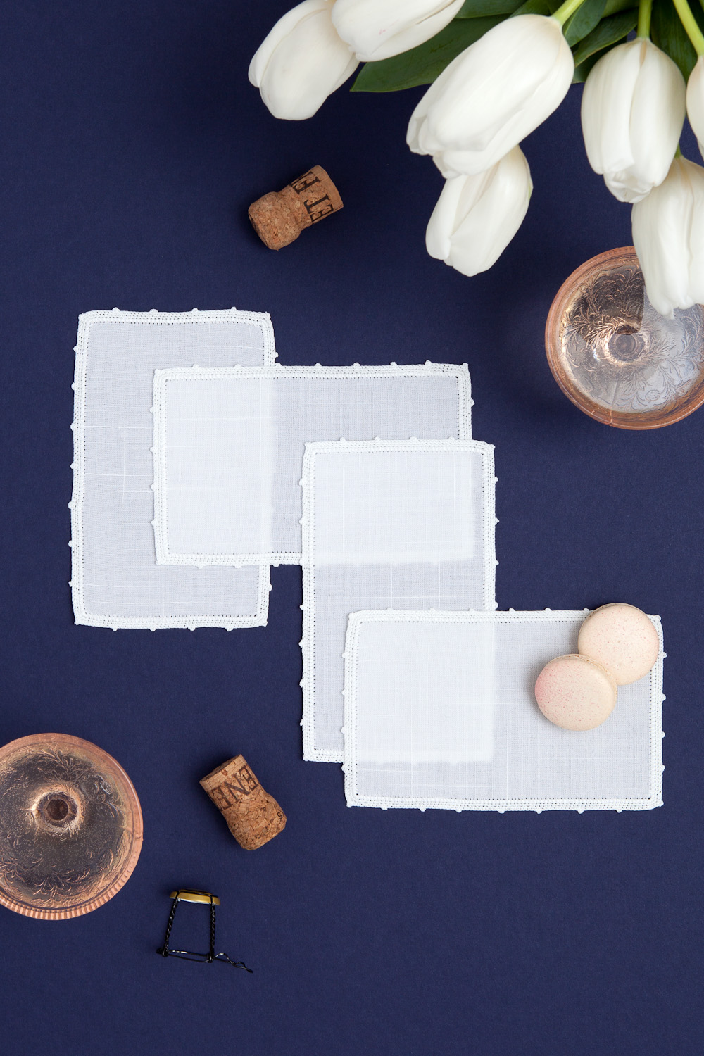 champagne linen napkins styled photography