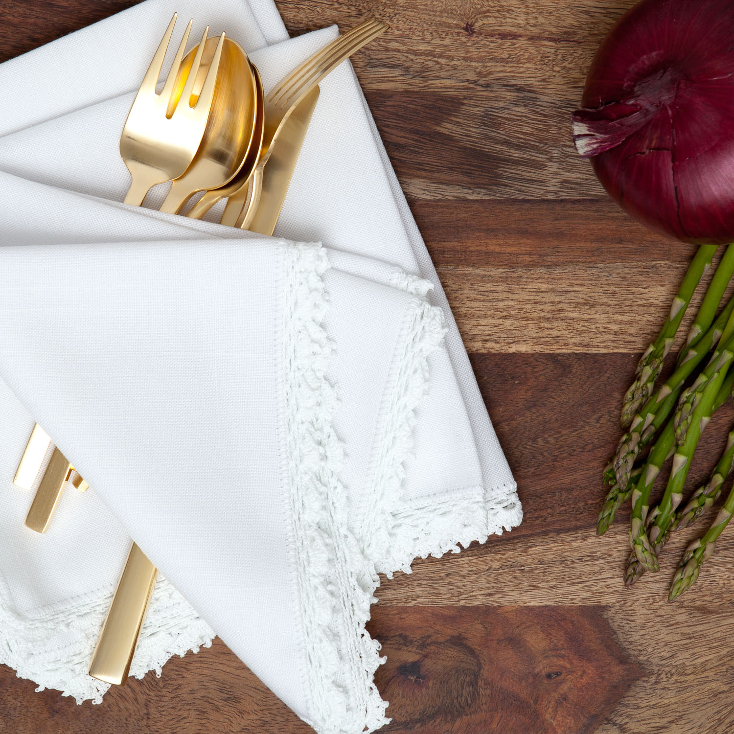 dinner styled linen napkin product photography