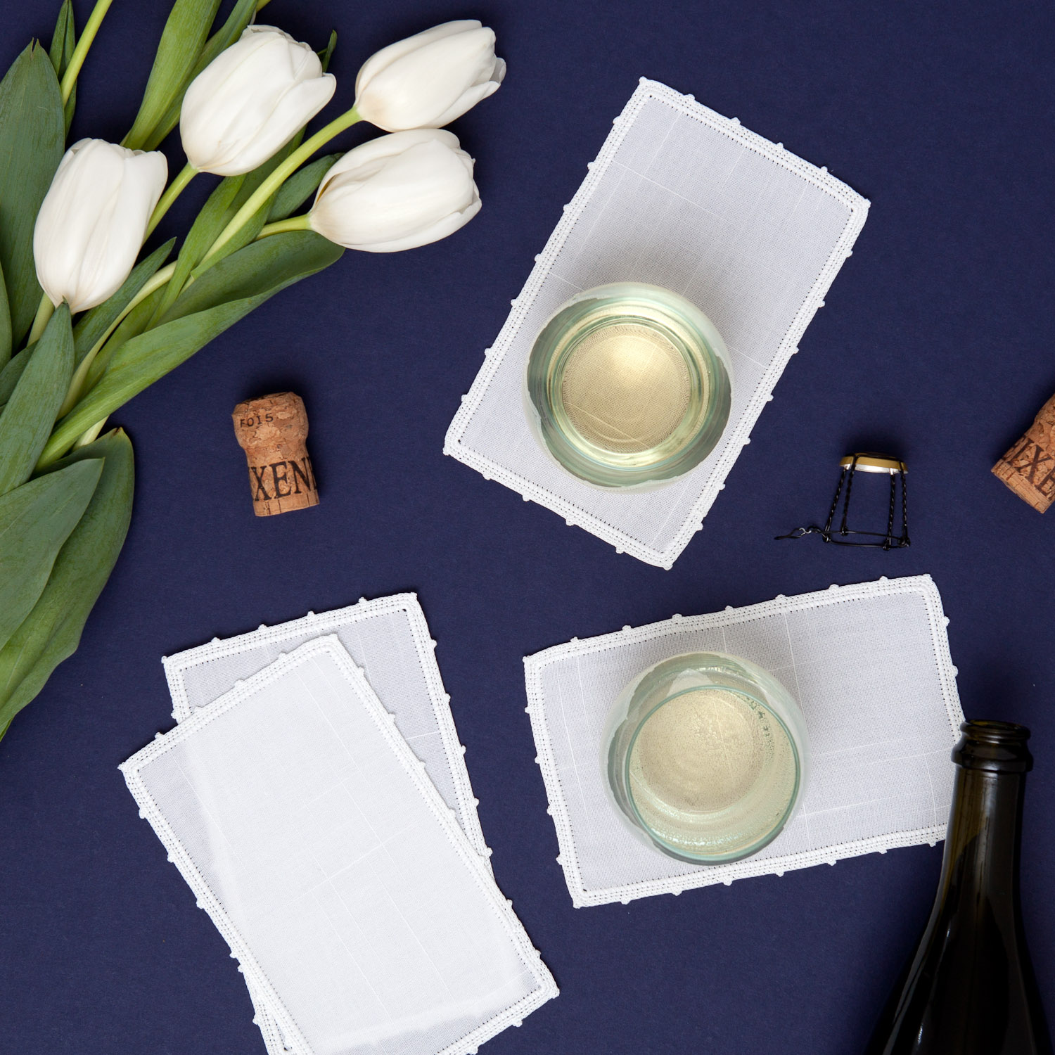 linen cocktail napkins product photography