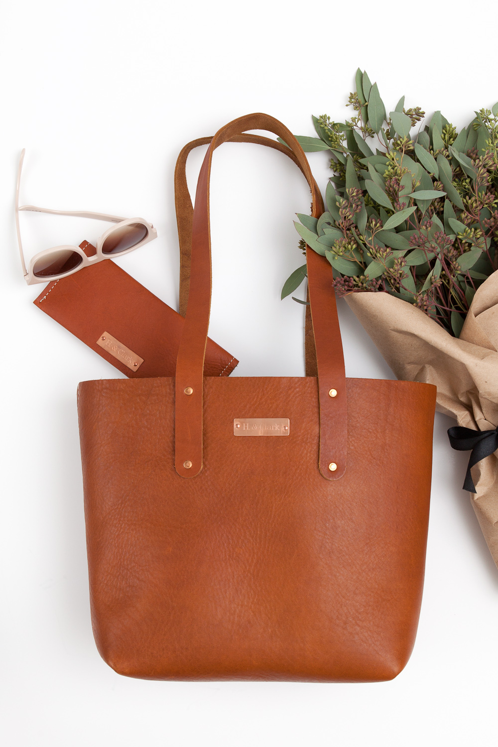 styled product photo leather tote