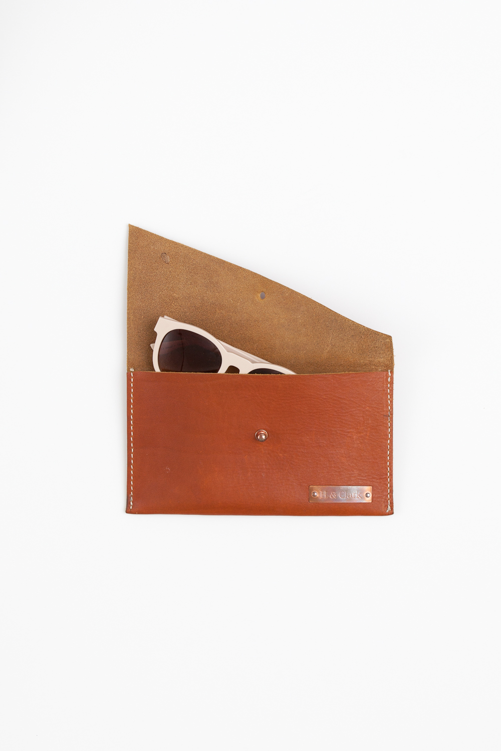sunglasses leather clutch