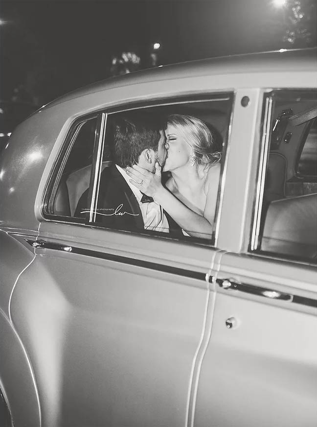 Couture Closet Bridal Boutique Chelsea Ti Adora car kiss