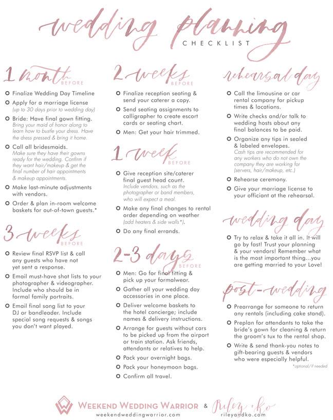 Weekend Wedding Warrior Checklist P2