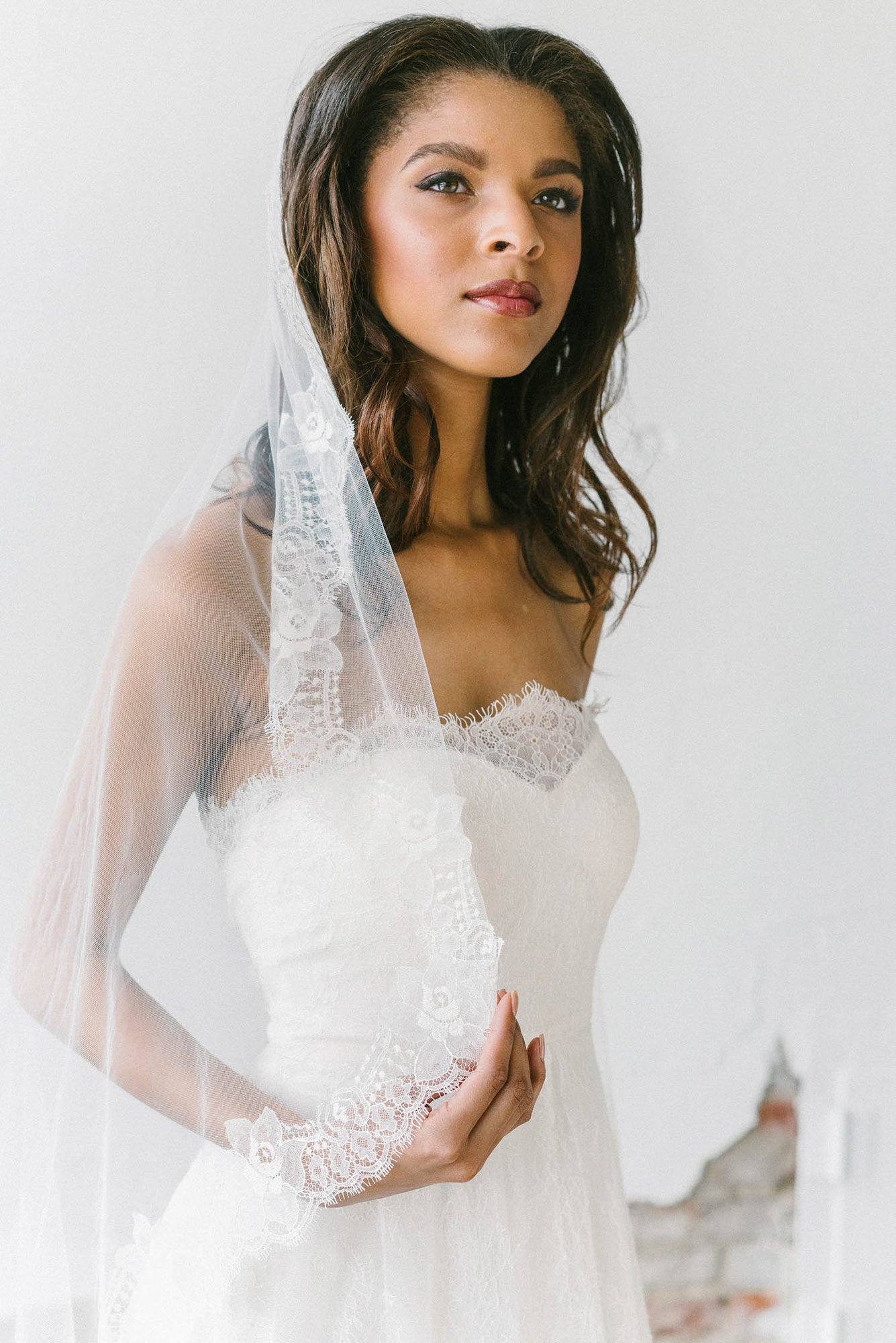 "The Sara Gabriel ""Melissa"" Veil is the perfect romantic lace veil."