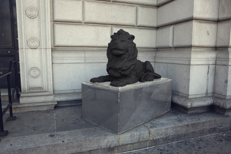 Silhouette / Urban Intervention (Black Tape) - Lion Statue