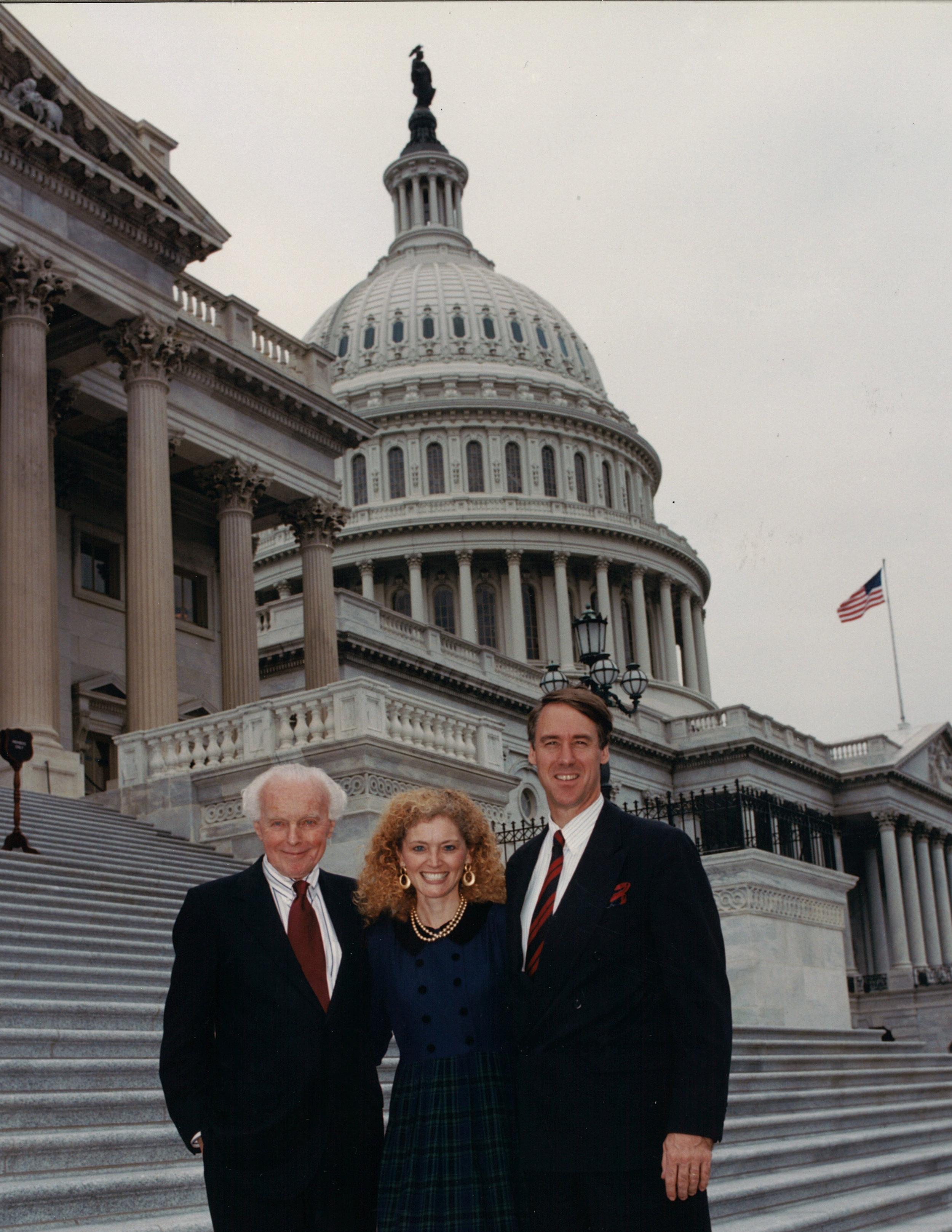 Katrina Lantos Swett with her father Tom Lantos and her husband Ambassador Richard Swett.