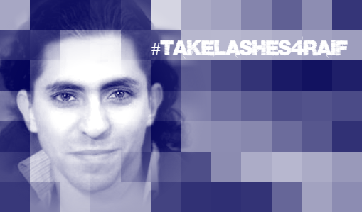 Promotional graphic used in the Lantos Foundation's 2015 campaign to #TakeLashes4Raif