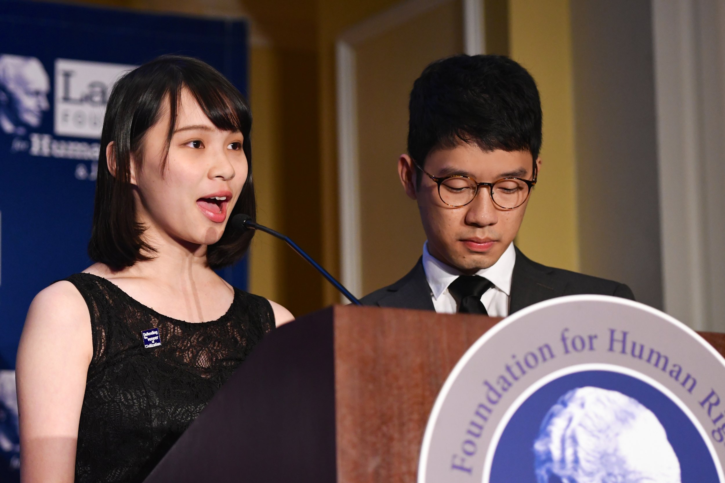Agnes Chow at the 2018 Lantos Human Rights Prize Ceremony.