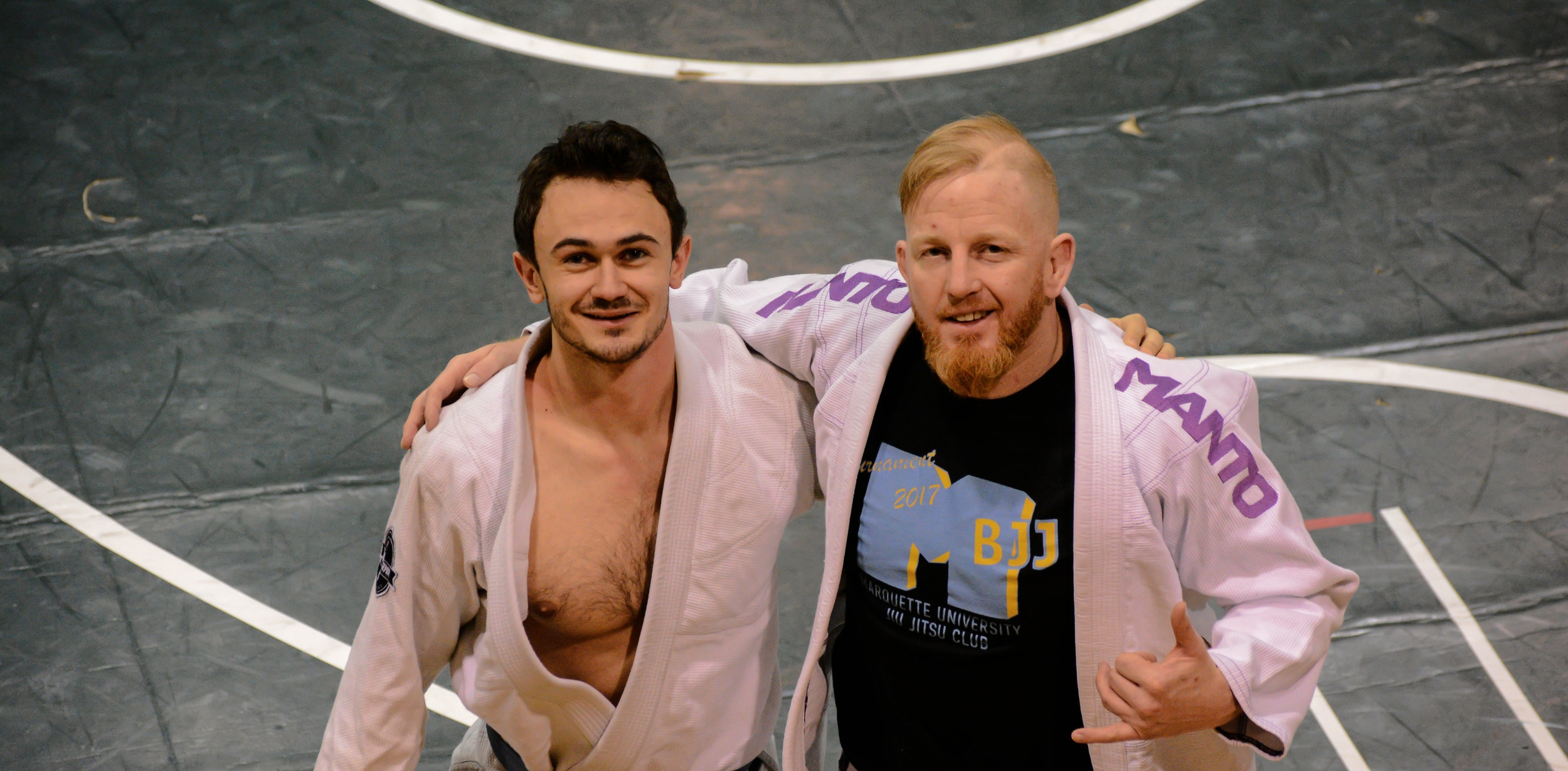 Jiu Jitsu club Founder Aidan Flanagan and Marquette Head Coach Chris Martin of Nova Gyms Martial Arts & Fitness.