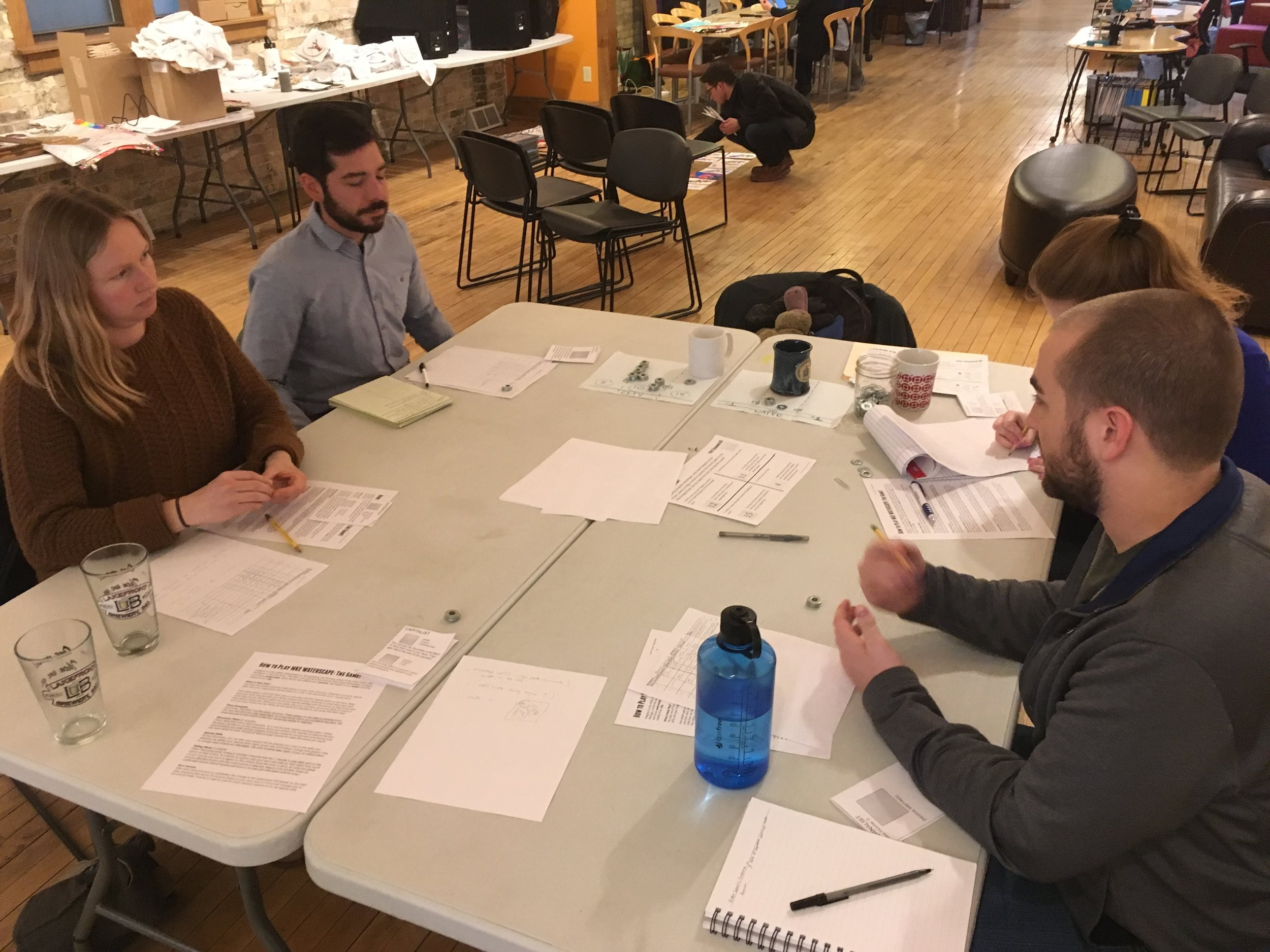 "Thanks to Harbor District Inc.'s Tony Giron, Milwaukee Water Commons' Anne Bohl, and School of Freshwater Sciences' Brennan Dow for recently playtesting the ""Past"" level of our game."