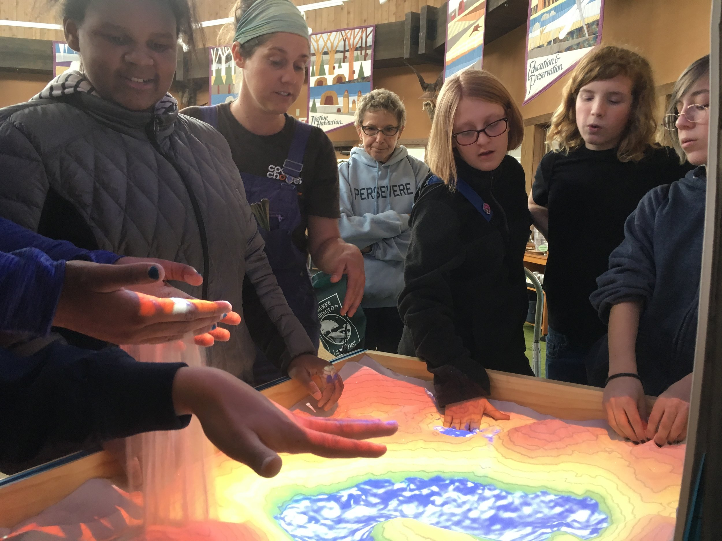 Riveredge's talented educators made linkages between not only physical dynamics shown through the table but also human dynamics like Foxconn's application for water and the Great Lakes Compact.