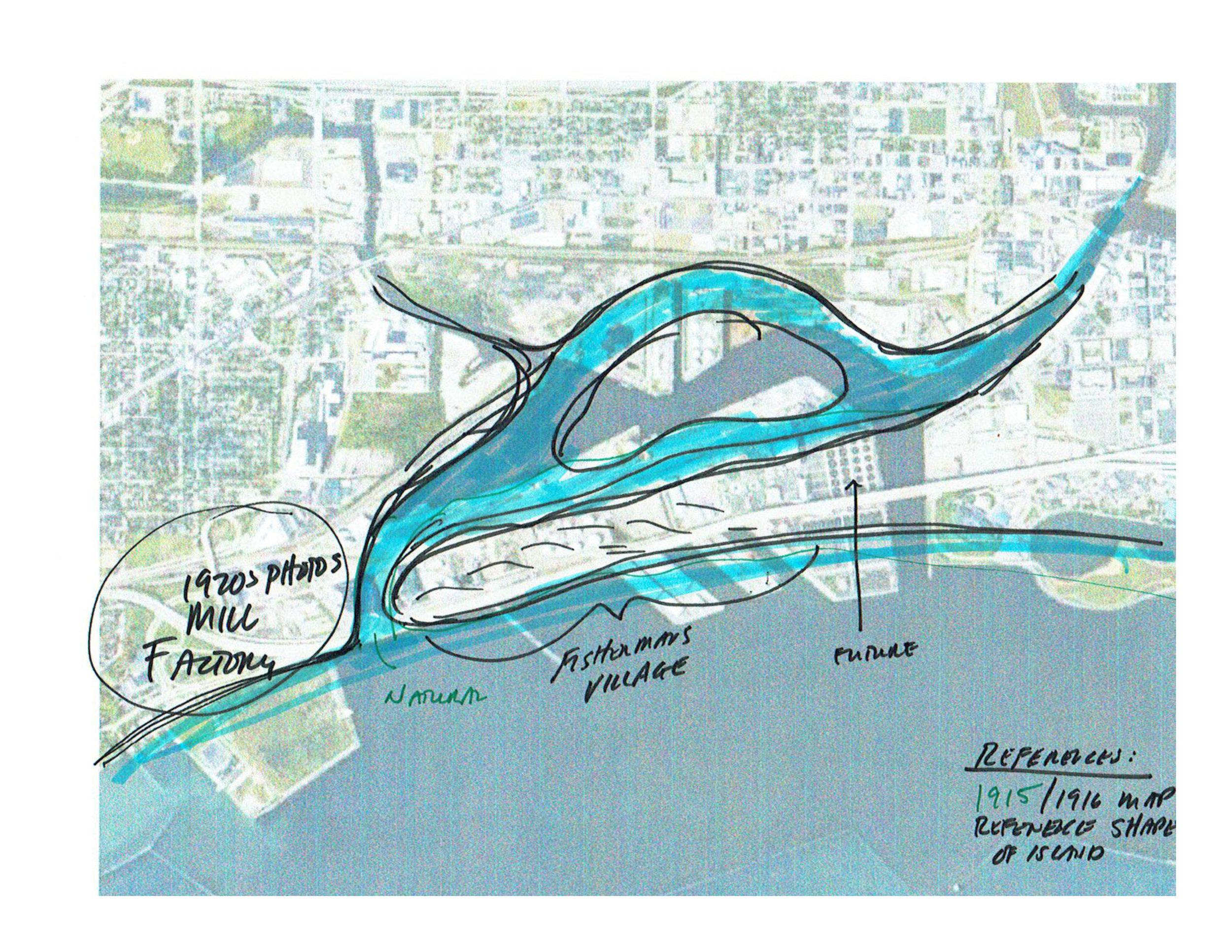 Early concept sketch of Jones Island history.
