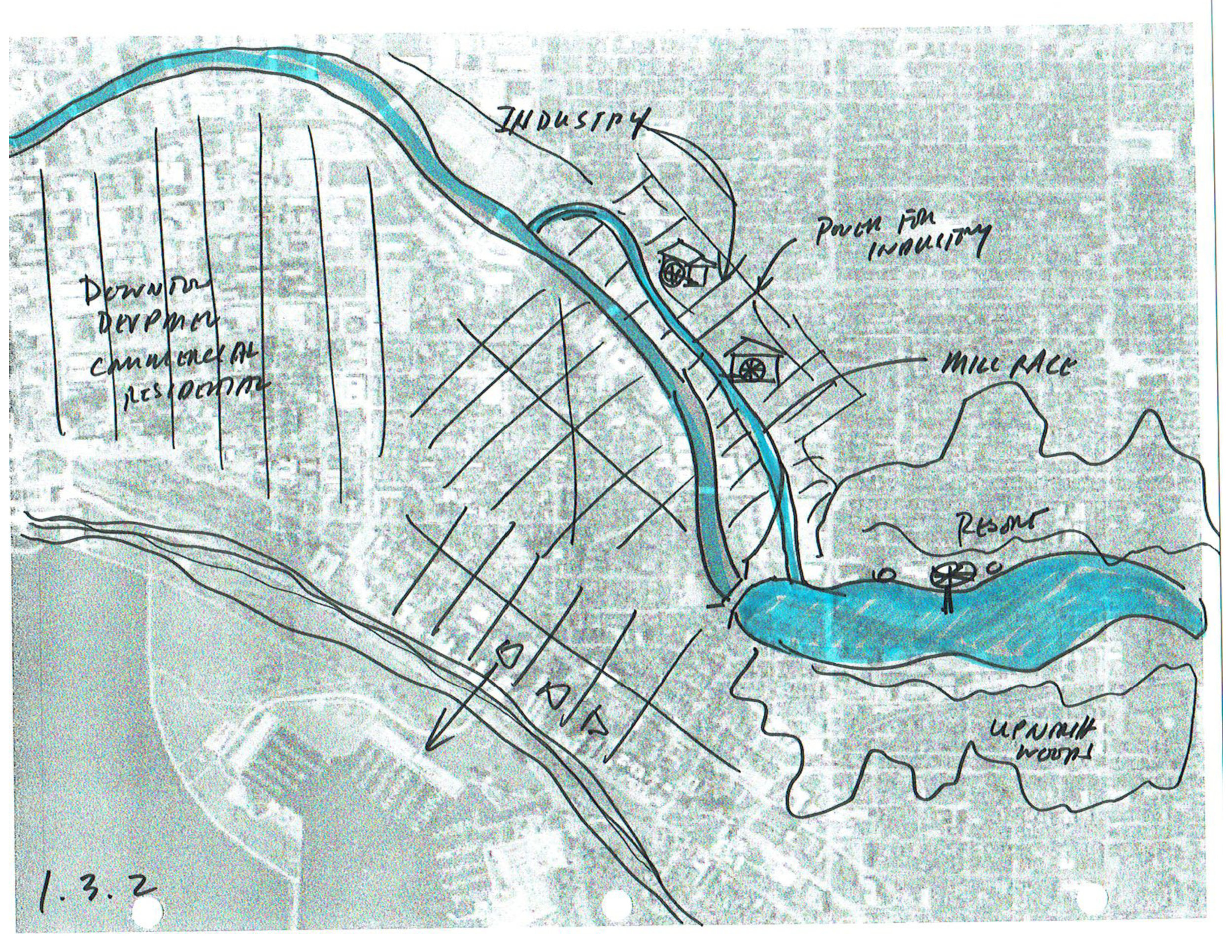 Early concept sketch of Milwaukee River history.