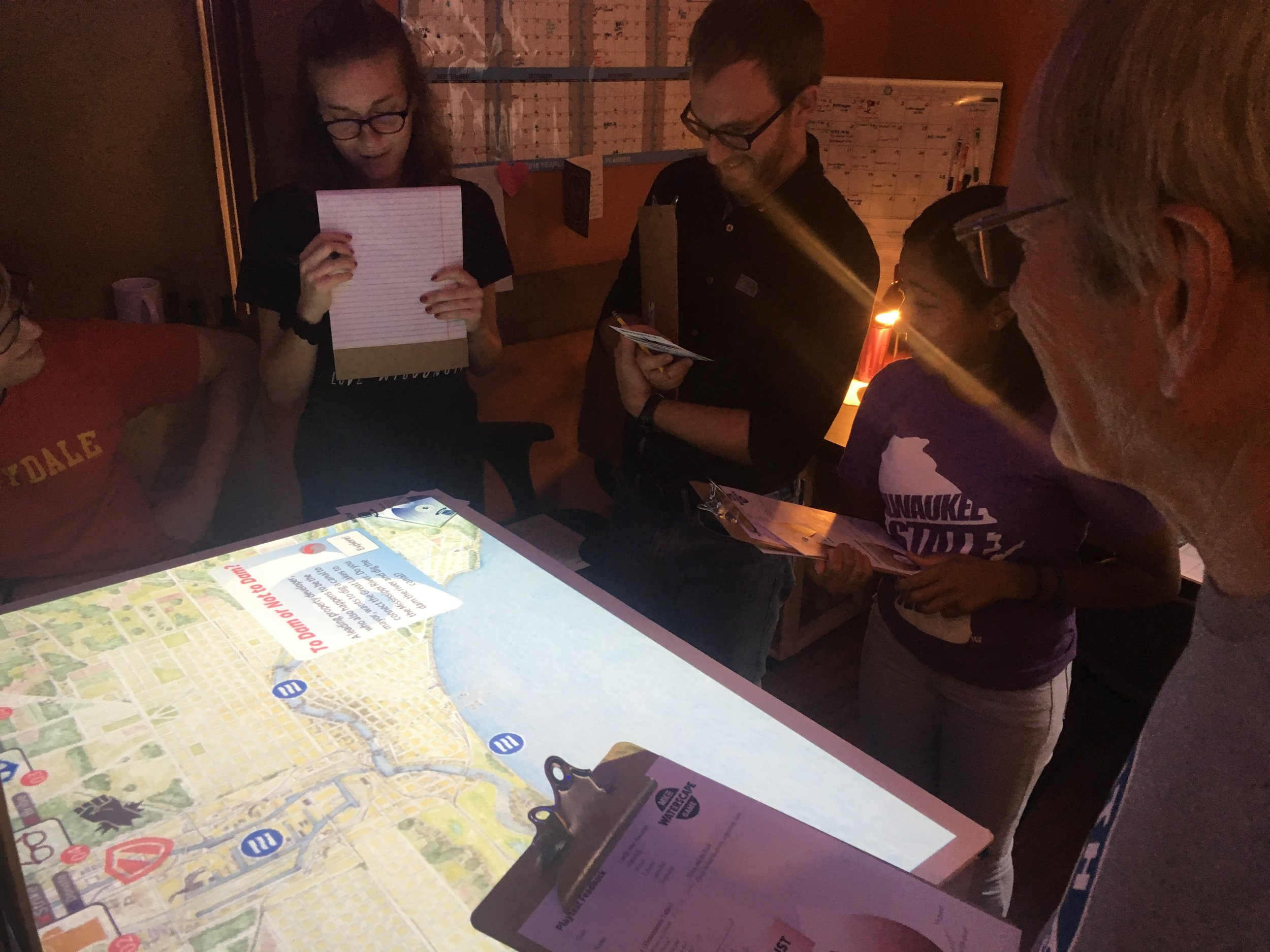 Representatives from Milwaukee Water Commons and Port Exploreum offered feedback during another summer playtest.