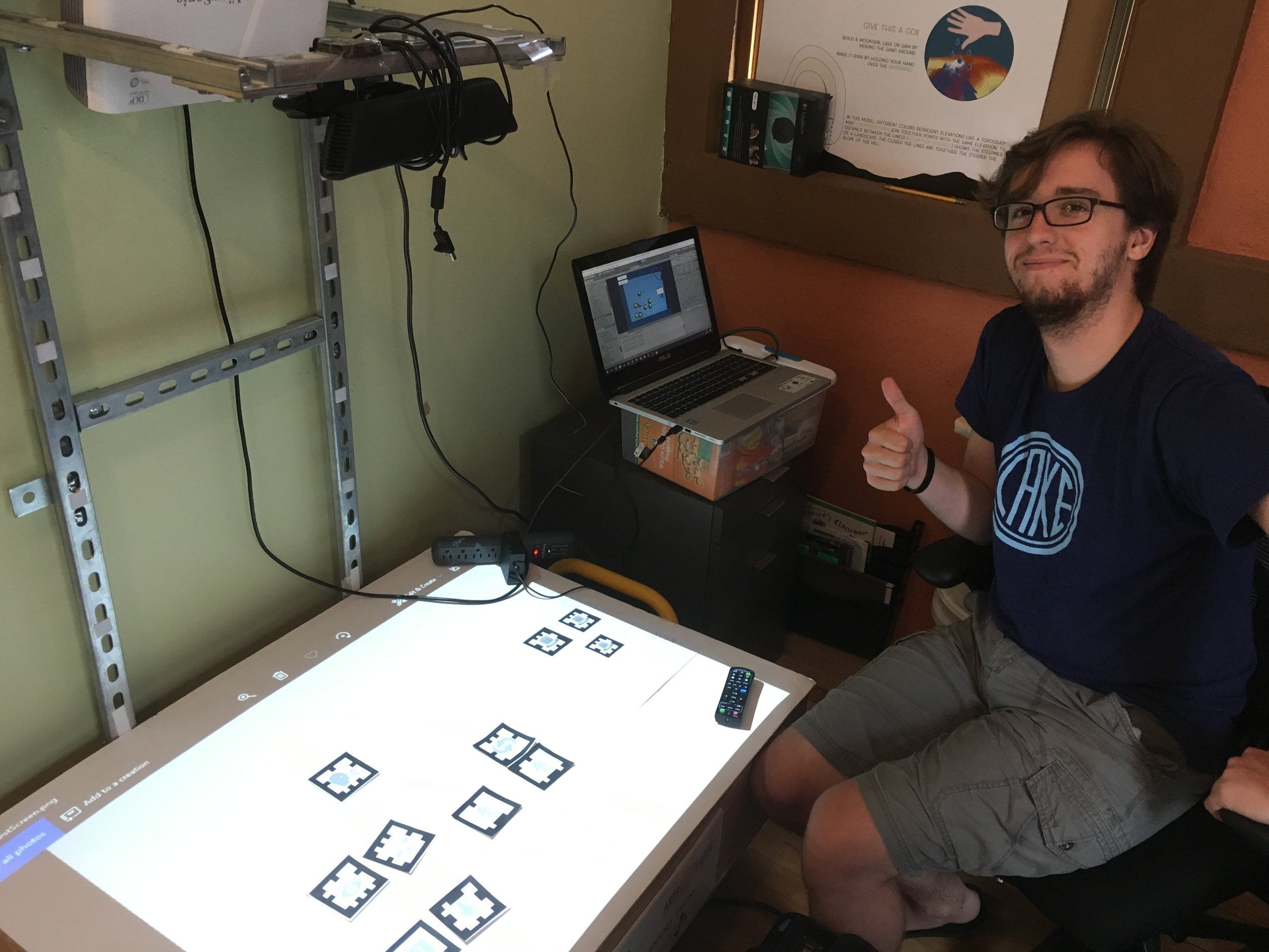 Solving a vexing challenge to connect the Augmented Reality systems with our game design. Thanks, Mike!