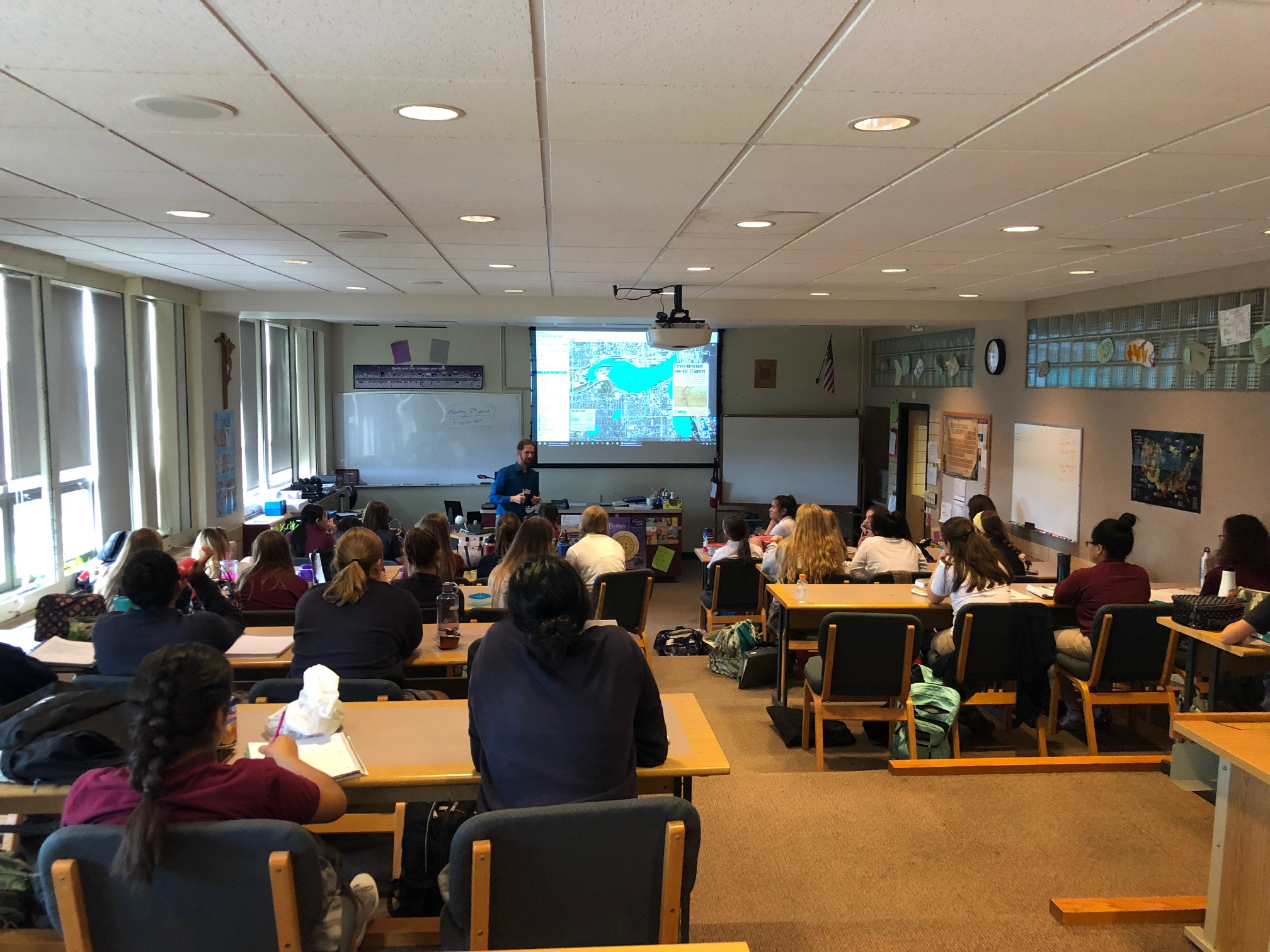 Sharing the Milwaukee Community Map with 40 students from DSHA's AP environmental science class in September 2018.