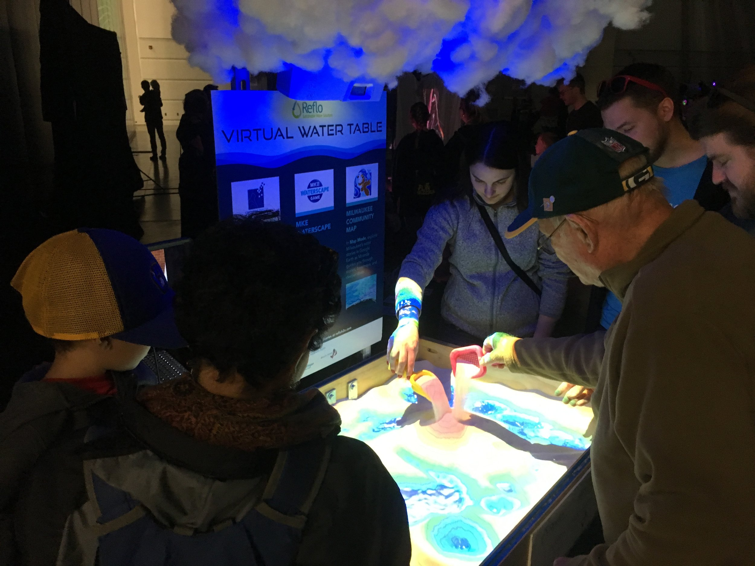 The Virtual Water Table promotes intergenerational interaction, reminding us of our human instinct to touch and connect.